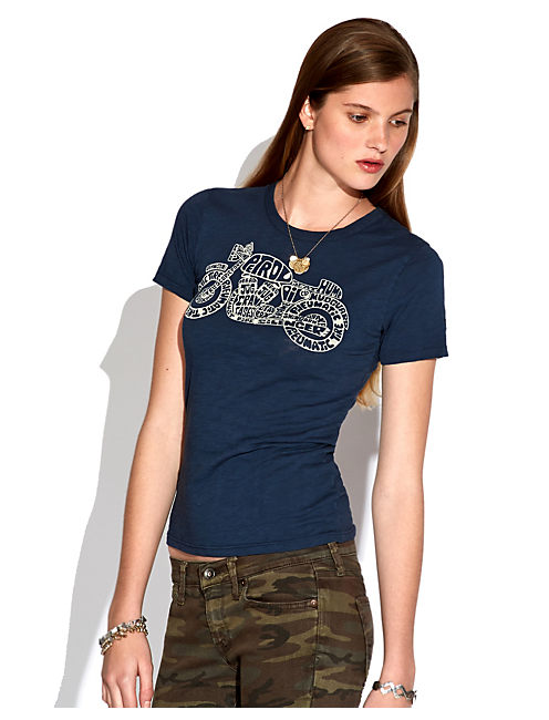 JOMO WORDS MOTORCYCLE TEE, NAVY