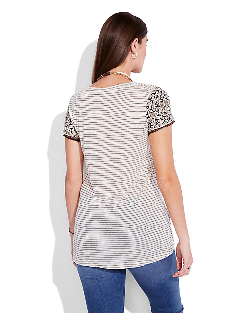 ELEPHANT STRIPE TEE, NATURAL MULTI