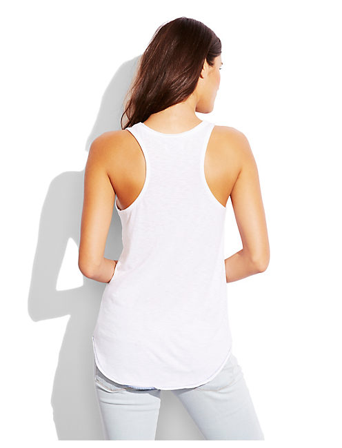 EMBROIDERED TANK, LUCKY WHITE