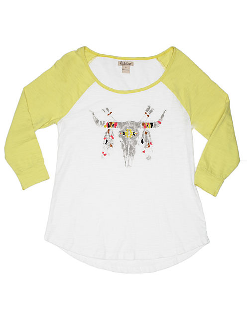 COLOR BLOCK STEER TEE, WHITE/YELLOW