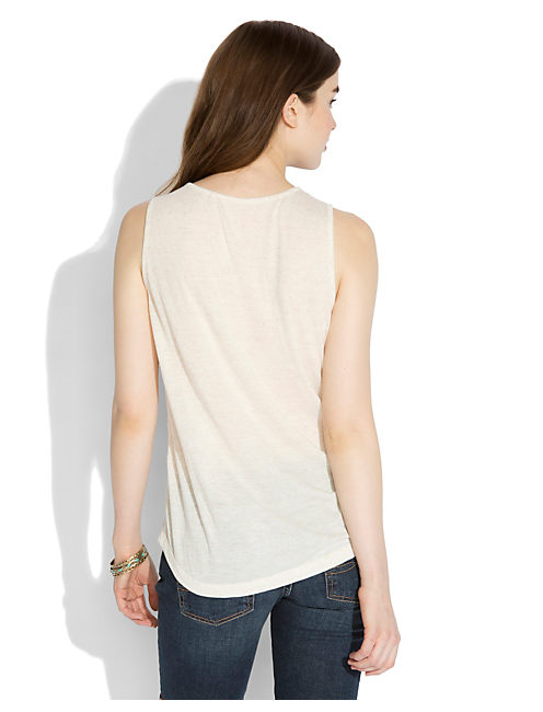 MADERA EMBROIDERED TANK, OATMEAL