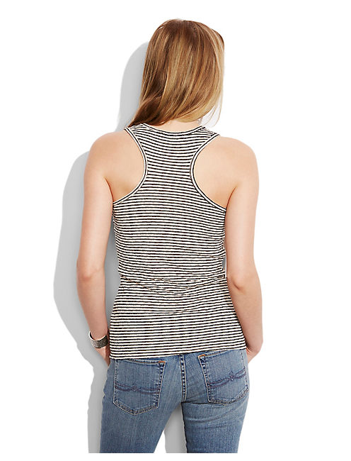 TIE UP STRIPE TANK, BLACK/NATURAL