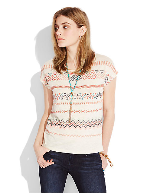 NEON EMBROIDERED TEE, OATMEAL
