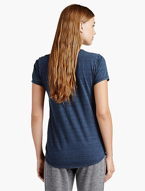 EMBROIDERED HAND TEE, # 419 INDIGO