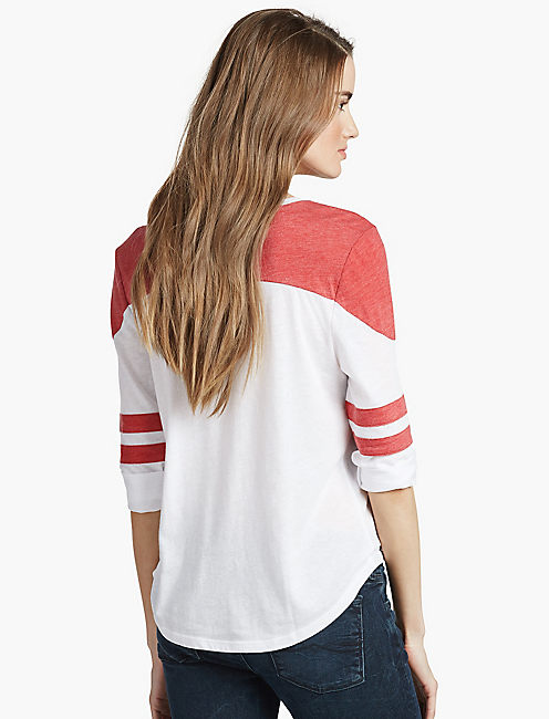 VARSITY RAGLAN TEE, RED/WHITE
