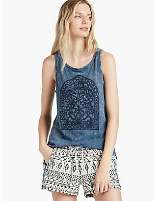 LUCKY WINDOW EMBROIDERY TANK