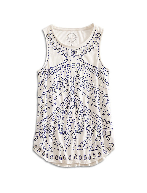 EMBROIDERED EYELET TANK, MARSHMALLOW