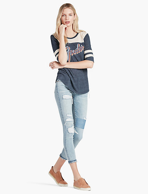 FENDER FOOTBALL TEE, BLUE MULTI