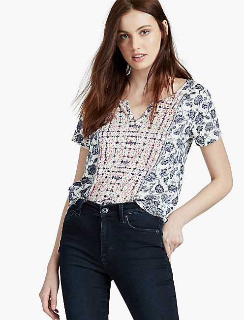 INDIAN FLORAL BORDER TEE,