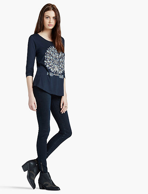 PEACOCK EMBROIDERED TEE,