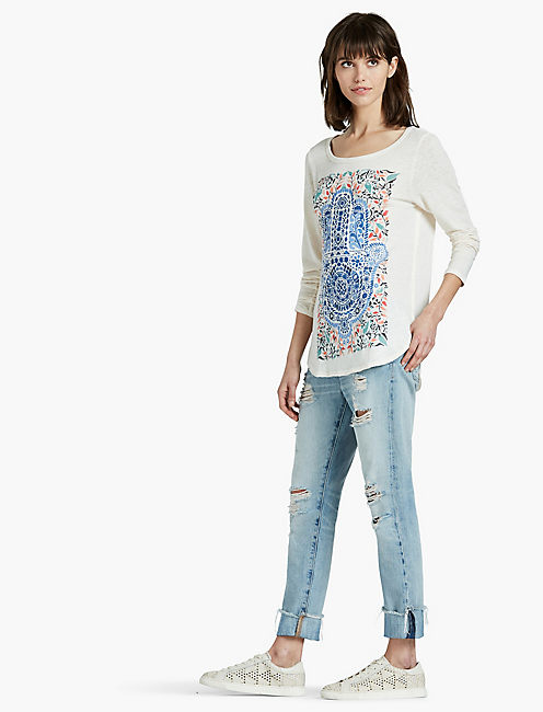 WATERCOLOR HAMSA HAND TEE,