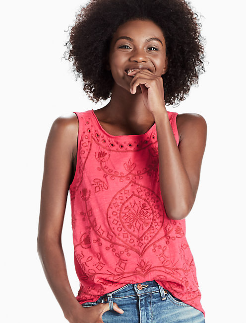 EMBROIDERED EYELET TANK,