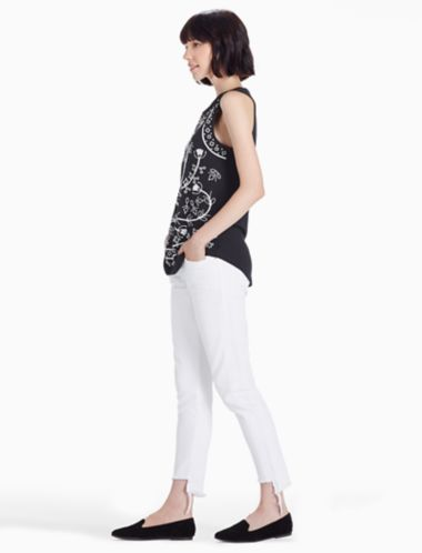 Lucky Embroidered Eyelet Tank