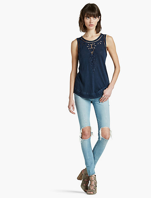 LUCKY EMBROIDERED WASHED TANK