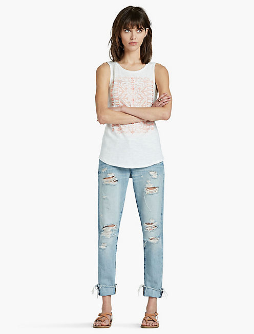 CORAL EMBROIDERED TANK, MARSHMALLOW