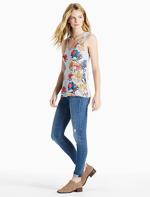 PLACED FLORAL TANK, BLUE MULTI