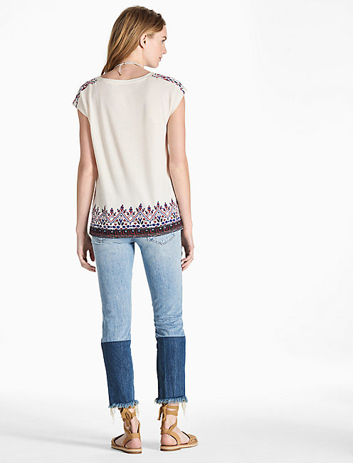 YOKE EMBROIDERED TEE,