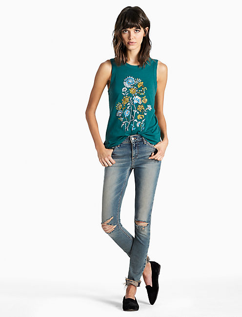 Lucky Floral Emb. Tank