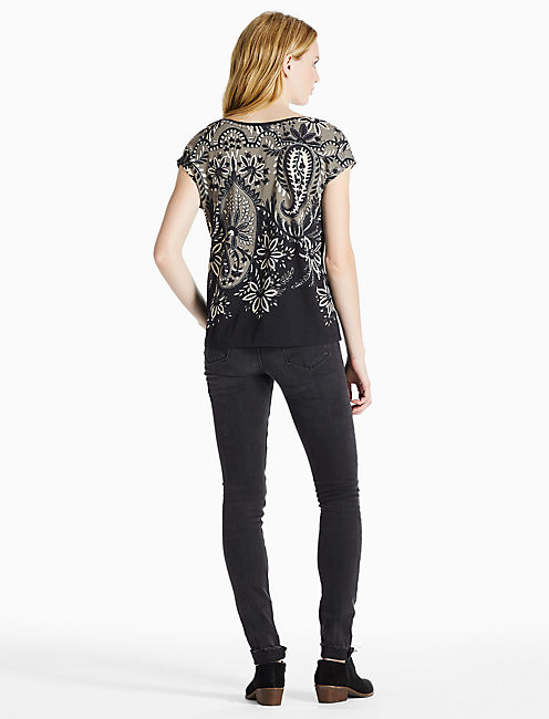EXPLODED PAISLEY TEE, BLACK MULTI