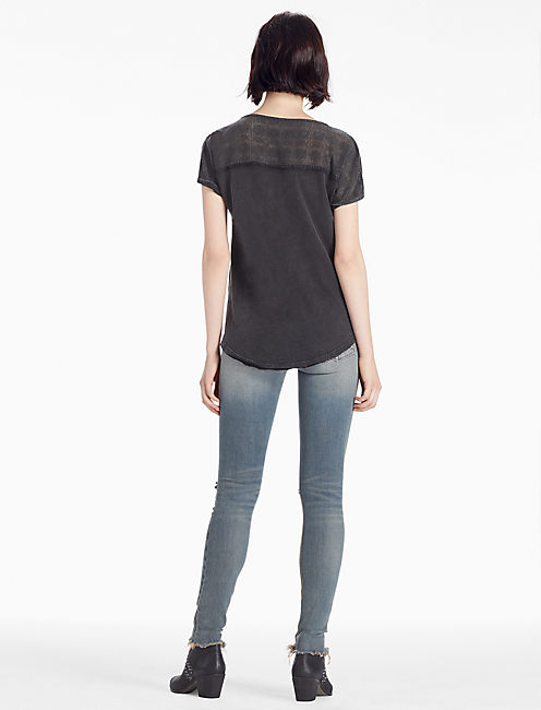 TRIUMPH LACE TEE, 001 LUCKY BLACK