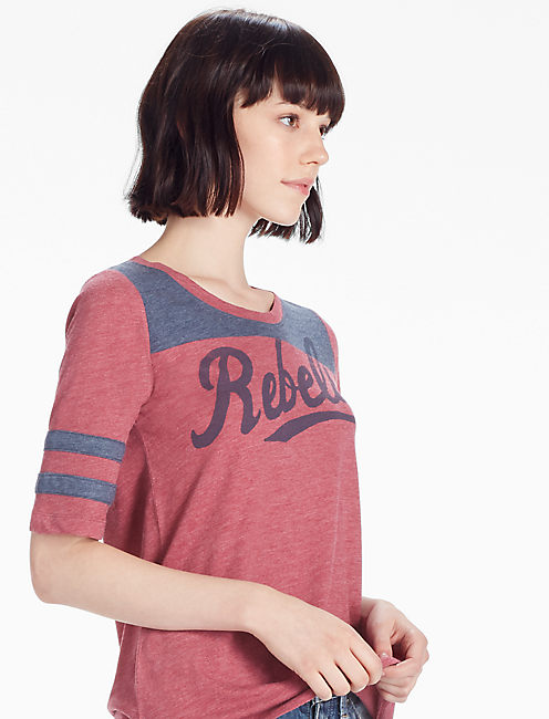 REBELS FOOTBALL TEE, RED MULTI