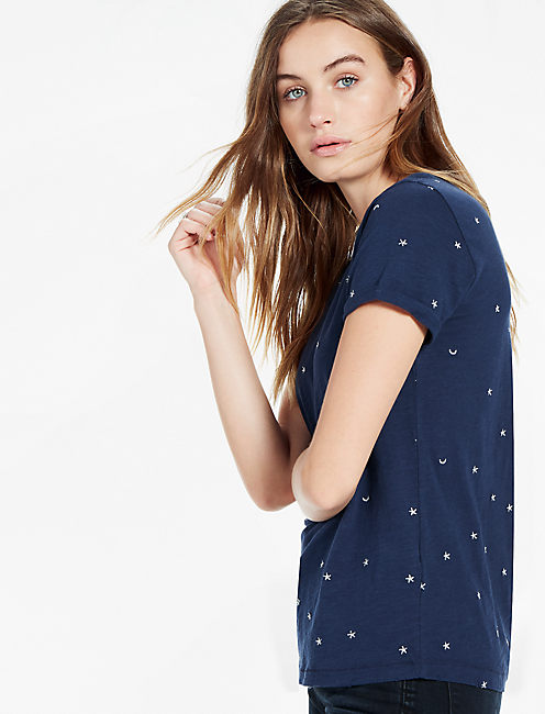 STARS AND MOONS TEE, AMERICAN NAVY