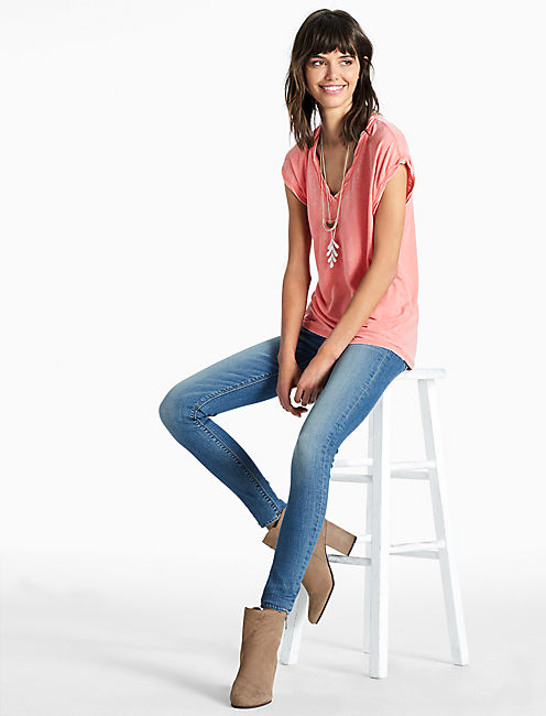 BURNOUT V NECK TANK, PORCELAIN ROSE