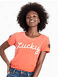 LOT, STOCK AND BARREL LUCKY LADY BUG TEE, AURORA RED
