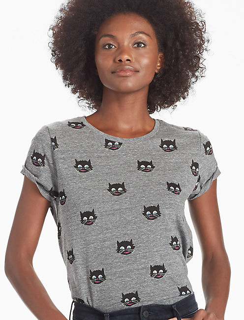 LOT, STOCK AND BARREL ALLOVER CATS TEE, HEATHER GREY
