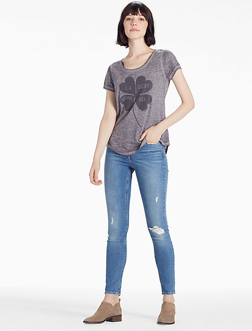 CLOVER TEE, HEATHER GREY