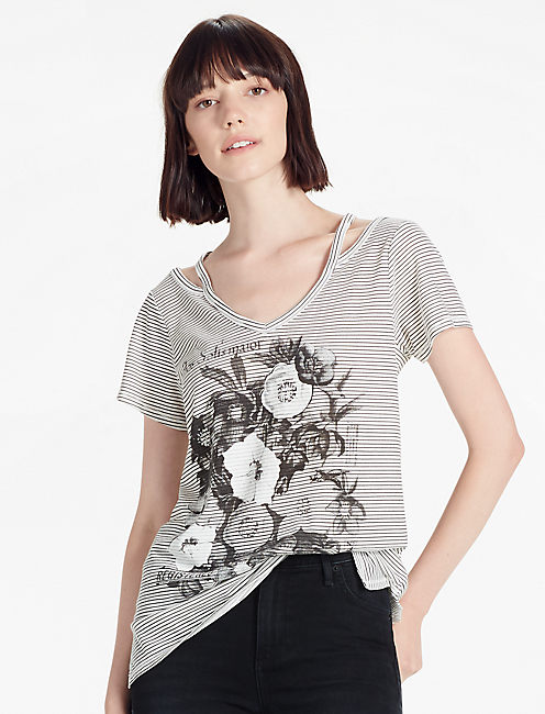 FLOWERS TEE, GREY MULTI