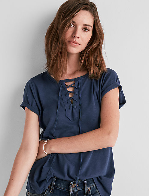 SHORT SLEEVE LACE UP TEE, AMERICAN NAVY