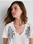 EMBROIDERED ROSE TEE,