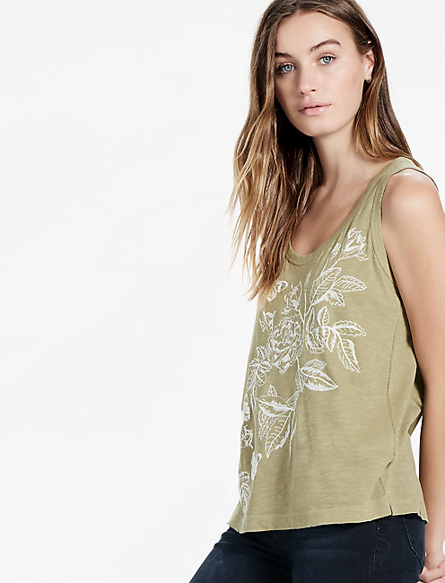 EMBROIDERED FLORAL TANK,