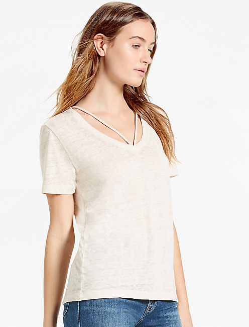 DOUBLE STRAP V NECK TEE,
