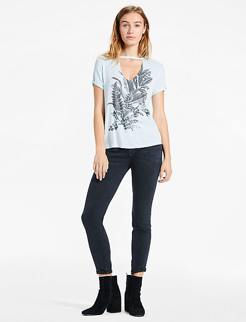 Lucky Gray Scale Floral Tee