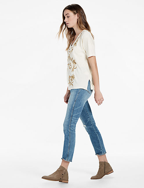 Lucky Metallic Floral Tee
