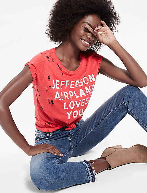 JEFFERSON DISTRESSED TEE, CHINESE RED
