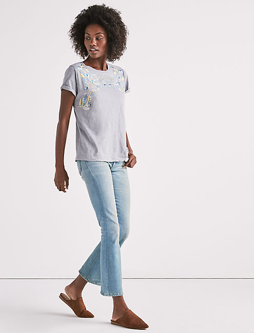 Lucky Embroidered Leaves Short Sleeve Tee