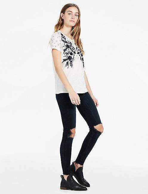 Lucky Embroidered Sequin Tee