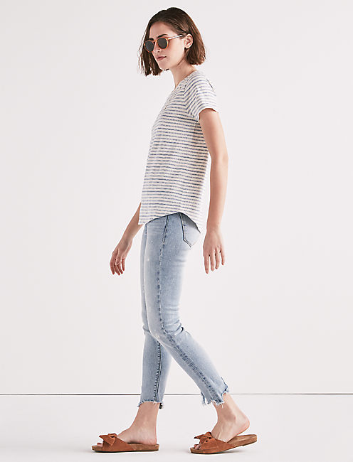 Lucky Stripe Lace Up Shoulder Tee