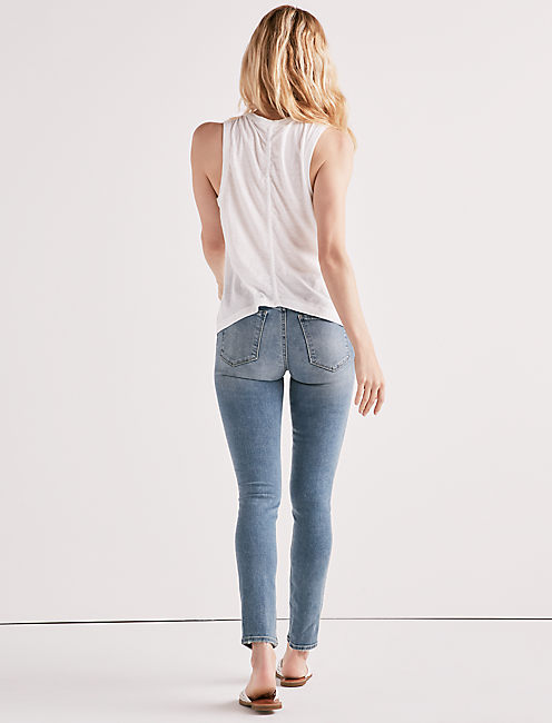 Lucky Embroidered Leaf Ruched Back Tank