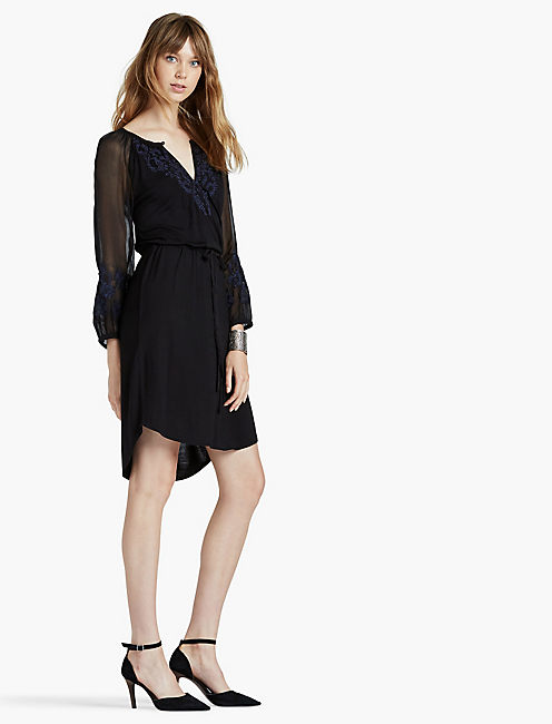 LUCKY EMBROIDERED KNIT DRESS
