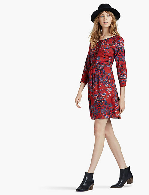 PRINTED MACRAME DRESS,