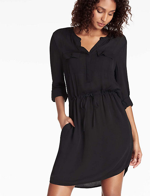 WAISTED SHIRT DRESS, 001 LUCKY BLACK