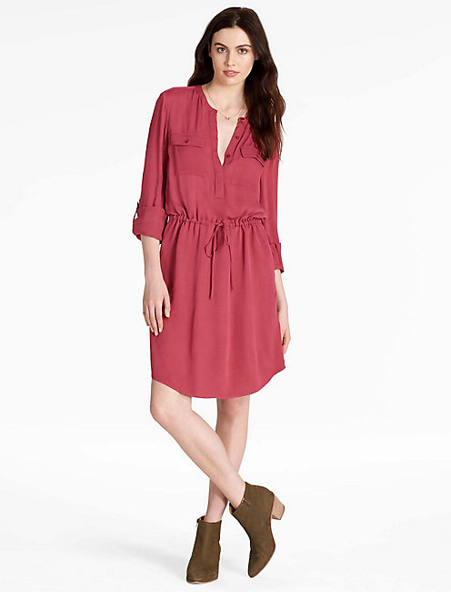 WAISTED SHIRT DRESS, EARTH RED