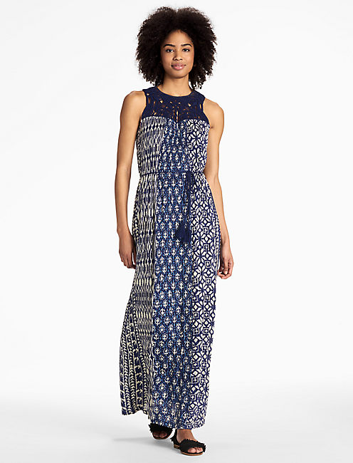 MACRAME YOKE DRESS, BLUE MULTI