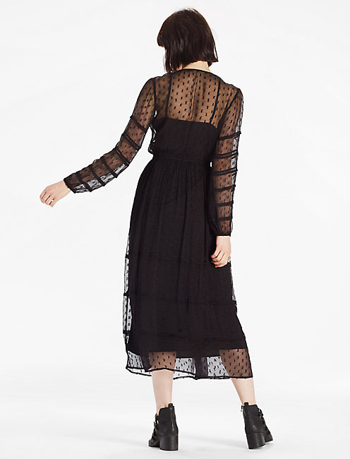 LACE MAXI DRESS, 001 LUCKY BLACK