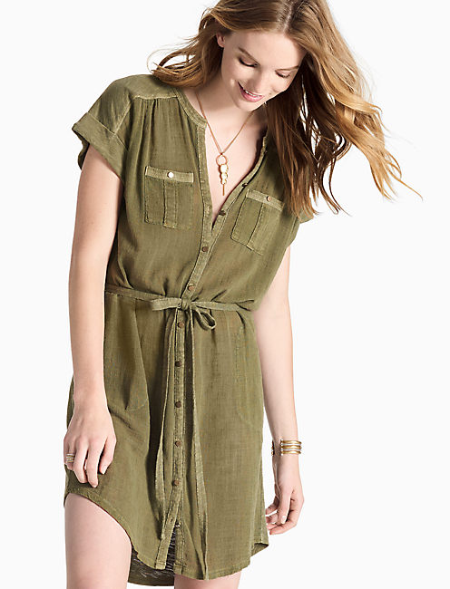 Lucky Woven Knit Mix Shirt Dress