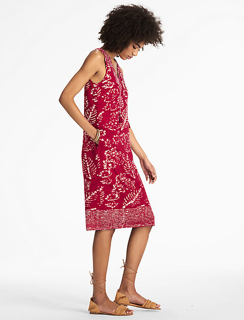 RED BATIK PRINT DRESS,